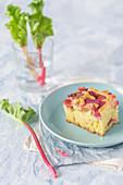 Slice of a rhubarb cake
