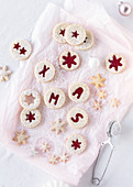 Jammy shortbread biscuits with letters