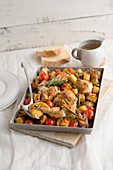 Herb chicken with vegetables and bread cubes
