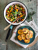 Colourful zucchini, aubergines, peppers, garlic and basil, and panisse (fried chickpea patties)
