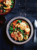 Caulifower, potato and spinach braise with ginger