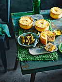 English pork pies with cornichons