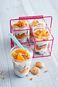 Peach, crumble and frozen yogurt iced cups
