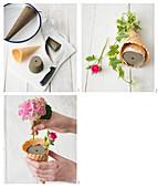 Anleitung für Gesteck mit Rosen und Hortensien in Eistüte