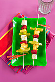 Tropical fruit Skewers with Orange Glaze