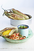 Barbecued Corn with Chunky Salasa and Mexican Rice