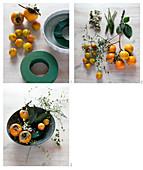 Anleitung für Schale mit Khaki-Früchten und Schneebeeren