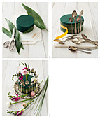 Instructions for making a centrepiece featuring freesias and buttercups decorated with vintage spoons