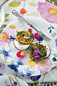 Herb omelettes with edible flowers and goat's cream cheese