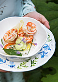 Prawns with avocado cream and fish jelly