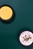 Sea buckthorn yoghurt, and soya and apple cream
