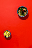 Chard with tomatoes, and curried cauliflower