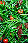 Grilled, smoked green bean with bacon and cherry tomatoes