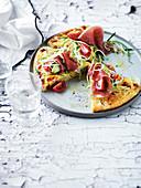 Prosciutto, cheddar and polenta frittata