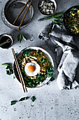 Fried rice with wild garlic and fried eggs (Asia)