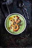 Cold avocado soup with prawns