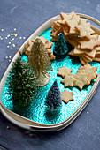 Christmas star biscuits on a turquoise tray
