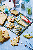 Various Christmas biscuits with decorations
