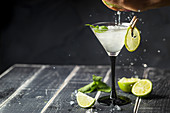Fresh classic lime margarita cocktail