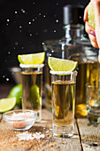 Mexican Gold Tequila shots with lime and salt