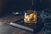 Ice cream with caramel topping and Irish cream liqueur