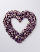 A heart made of lavender flowers