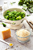 Parmesan Cheese with Peas and Broccoli