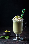 Green tea matcha latte (healthy diet, superfood, antioxidant, cleansing)