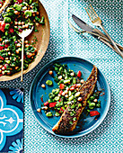 Grilled flathead with egyptian-style broad beans