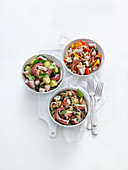 Three Mediterranean octopus salads