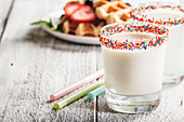 Fresh made Vanilla Milk Shake with waffles