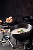 Creamy mushroom soup in a bowl