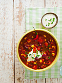 Mexican bean chilli and a yoghurt dip