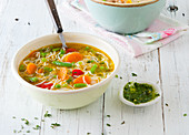 Minestrone and basil pesto