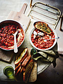 Tuscan beans with sausage and marjoram