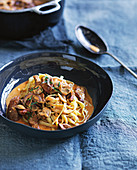 Beef stroganoff with tagliatelle