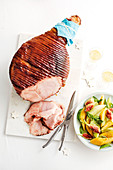 Ginger beer-glazed ham with fig and melon salad