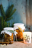 Jars of baked apple jam