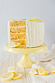 Lemon layer cake, sliced
