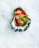 Oyster on crushed ice with cucumber and ginger