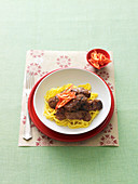 Stir-fried anchovy, chilli and lime lamb
