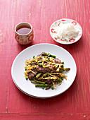 Stir-fried Sichuan duck with asparagus