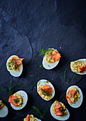 Stuffed boiled eggs with rooibos infused trout
