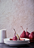 Rooibos and red wine poached pears with lemongrass