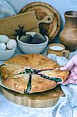 Vegetable pie with beetroot leaves