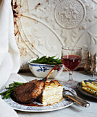 Table Setting with Lamb, potatoes and green beans