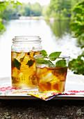 Sommergetränk mit Minze in Gläserm auf Tablett am See