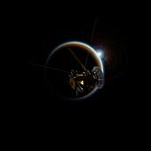 Cassini spacecraft and Titan, illustration