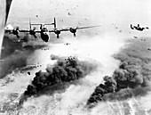 B-24 Liberator bombers targeting an oil refinery, 1944