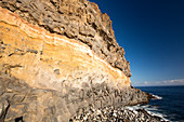 Colourful volcanic rocks in the sea cliff, Canary Islands